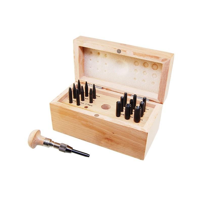 Набор обжимок для кастов Ø0,75-7,75мм (18 шт), в деревянном боксе