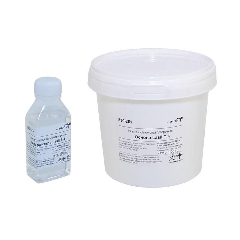 Резина жидкая силиконовая прозрачная  Lasil T-4, двухкомпонентная, 0,9кг