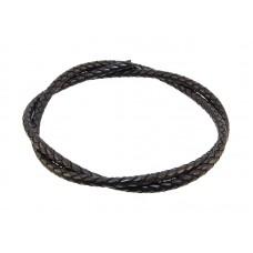 Шнур кожаный плетеный черный, Ø2.0мм, 65-75см