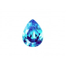 Фианит голубой, груша, 10х7мм
