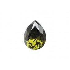 Фианит оливковый, груша, 10х7мм