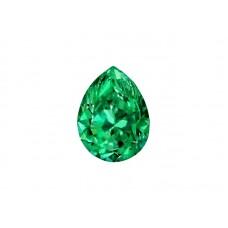 Фианит зеленый, груша, 10х7мм