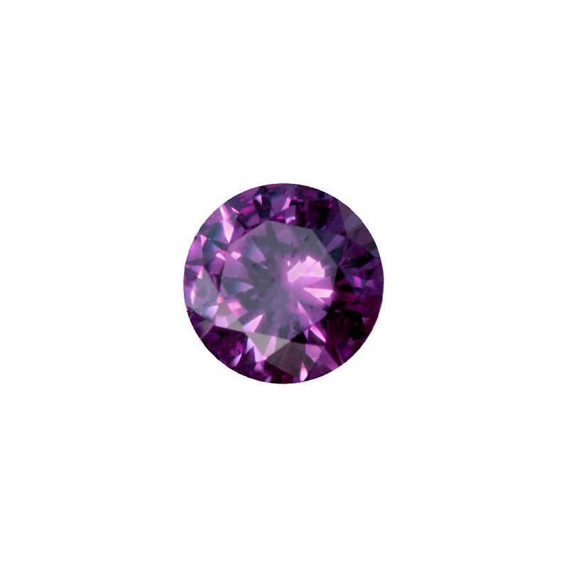 Фианит аметистовый, круг, 12мм