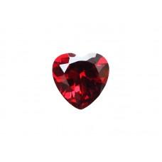 Фианит красный гранат, сердце, 6х6мм