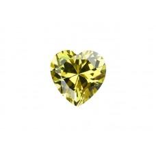 Фианит оливковый, сердце, 7х7мм